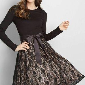 NWT ModCloth Go With Grace knit/lace Dress Black